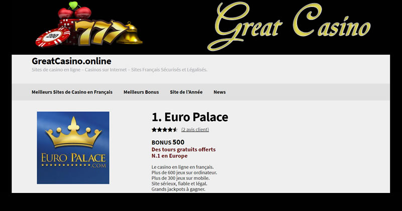 Euro Palace, le casino en ligne européen